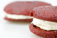 Close up of Red Velvet Whoopie Pie Stock Photo