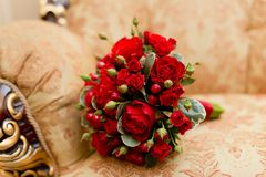 Close up of red wedding bouquet - background Stock Images