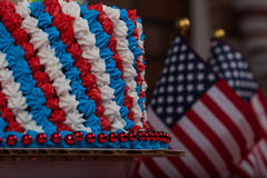 Close up of red white blue frosted cake for USA holiday Stock Photo