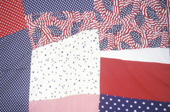 Close-up of red, white and blue themed quilt Stock Image