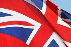 Close up of the red white and blue Union Jack Flag Royalty Free Stock Photography