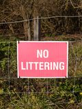 Close up of red and white country sign no littering. Essex; england; uk Stock Photo
