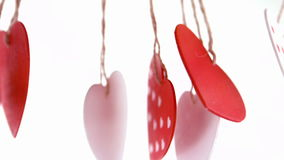 Close up on red and white love heart decoration stock video footage
