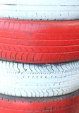 Close up of red and white tire background texture Royalty Free Stock Image