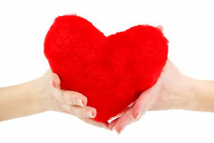 Close-up of red wooden heart in female hands. Showing it (isolated Royalty Free Stock Photo