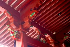 Closeup of red wooden structure of temple roof Japanese style in. Close up of red wooden structure of temple roof Japanese style in Asakusa temple royalty free stock image
