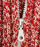 Close-up red wool sweater with zipper Stock Photos