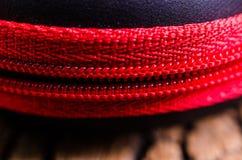 Close up of red zipper Stock Photos
