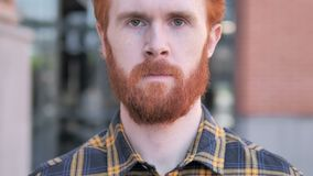 Close up of Redhead Beard Young Man, Outdoor. 4k high quality, 4k high quality stock footage