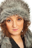 Close up of redhead in fur hat Stock Photos