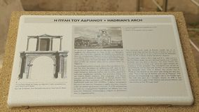 Close-up of reference information table about Hadrian's Arch in Athens, Greece. Stock footage stock video footage