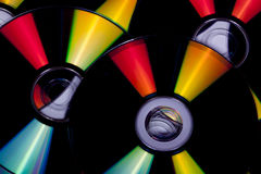 Close up Reflections and Colors on Compact Discs Royalty Free Stock Photography