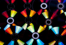 Close up Reflections and Colors on Compact Discs 3 Stock Images