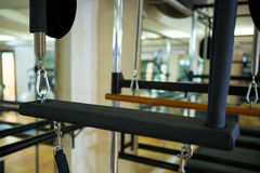 Close-up of reformer. In gym Stock Image