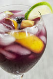 Close-up of refreshing ice cold fruit filled red sangria Stock Images
