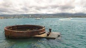 Close up of the remains of a gun turret at the arizona memorial at pearl harbor. Hawaii royalty free stock photo