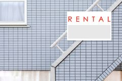 Rent Real Estate Sign in Front of house royalty free stock photo