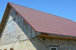 Repair old house roof. Roofing construction renovation. Close up on Repair old house roof. Roofing construction renovation Royalty Free Stock Photo