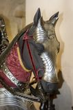 Close-up of a replica of a medieval horse armor stock images