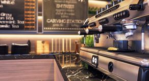 Close up of restaurant and bar coffee machine in focus Royalty Free Stock Image