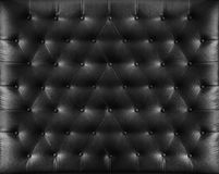 Close up retro chesterfield style. Black capitone textile background Stock Photos