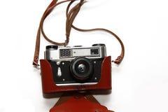 Close-up retro film camera isolated on white Royalty Free Stock Image