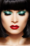 Close-up retro glamour face. Disco glitter make-up royalty free stock photo