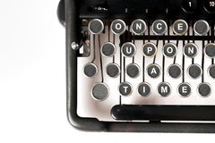 Close up of retro style typewriter, once upon a time stock images