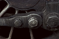 Close up of retro train wheel royalty free stock photography