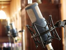 Close up of retro vintage microphone against Royalty Free Stock Images