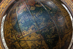 Close up of Retro World Globe in Wooden Mounting Royalty Free Stock Photography