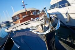 Close up of a retro yacht anchor. Luxury and shiny retro yacht with anchor Stock Photo