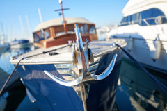 Close up of a retro yacht anchor. Luxury and shiny retro yacht with anchor Stock Photos