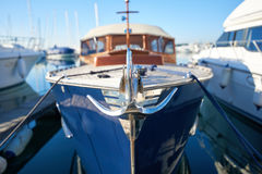 Close up of a retro yacht anchor. Luxury and shiny retro yacht with anchor Stock Images
