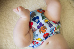 Close up of a reusable all in one nappy Royalty Free Stock Image