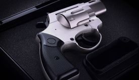 Close up revolver. In a case Royalty Free Stock Photo