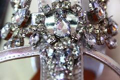 Close up of rhinestones on a sandal Royalty Free Stock Images