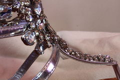 Close up of Rhinestones on sandals Stock Images