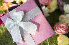 Close up ribbon on gift box Stock Photos