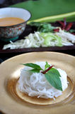 Close up Rice Noodle with Spicy Sauce Stock Image