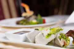 Close Up of Rice Paper Rolls on Plate Stock Photography