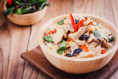 Close up Rice topped with stir fried pork and basil Royalty Free Stock Photography