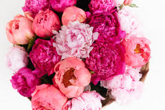 Close-up rich bunch of peonies and tea roses on white background. Top view Royalty Free Stock Image