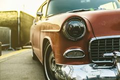 Close up rich retro car on a sunset a vintage style royalty free stock images