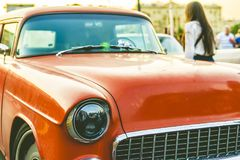 Close up rich retro car on a sunset a vintage style royalty free stock photo