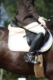Close up of rider during dressage competition Stock Image