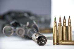 Close up of rifle and bullets Stock Images