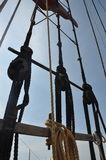 Close Up of rigging. Mystic Seaport rigging on a schooner Royalty Free Stock Image