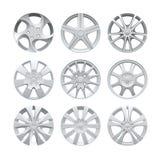 Close up of rims car alloy wheel. Aluminum wheel vector set. Figured alloy rim for car, tracks. Close up of rims car alloy wheel. Aluminum wheel vector set royalty free illustration