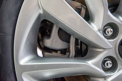 Close up of rims from sport car. Close up of rim and caliper from disc brake of a sport car Stock Image
